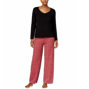 Charter Club Long Sleeve Plaid Cotton Pajama Set L